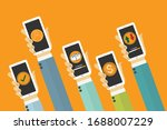 hand with phones flat icon... | Shutterstock .eps vector #1688007229