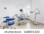 Special equipment in a dentist room, interior - stock photo