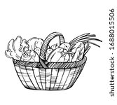 hand drawn basket with... | Shutterstock .eps vector #1688015506