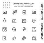 online education simple line...