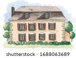 Hand Drawn Watercolor House...