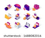 social security isometric icons ... | Shutterstock .eps vector #1688082016