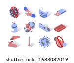 virus epidemic isometric icons... | Shutterstock .eps vector #1688082019