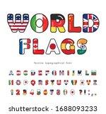 world flags cartoon font. paper ... | Shutterstock .eps vector #1688093233