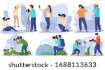 Photographer in studio and outdoor, taking pictures of people and nature, vector illustration. Professional photo equipment, man traveling with camera and shooting landscapes and wildlife photography - stock vector