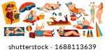 people relaxing on beach  set... | Shutterstock .eps vector #1688113639