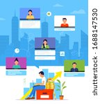 organization of a workflow or... | Shutterstock .eps vector #1688147530