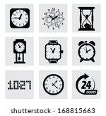 vector black clocks icons | Shutterstock .eps vector #168815663