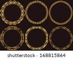 set of golden round frames