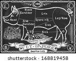 vintage butcher blackboard cut... | Shutterstock .eps vector #168819458