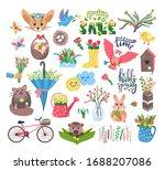 cute spring set vector... | Shutterstock .eps vector #1688207086