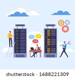 data storage room datacenter...   Shutterstock .eps vector #1688221309