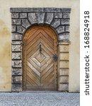 Old Wooden Door In The Prague...