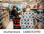 Woman Shopper With Mask And...