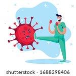 doctor fighting virus comic... | Shutterstock .eps vector #1688298406