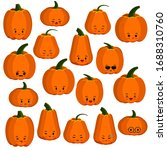 pumpkin faces emoji icons set... | Shutterstock .eps vector #1688310760