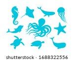 marine animals outline set... | Shutterstock .eps vector #1688322556