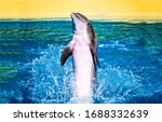 Dolphin Jumping In Water View....