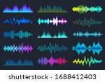 colored sound waves collection. ... | Shutterstock .eps vector #1688412403