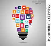 modern light bulb with cloud of ... | Shutterstock .eps vector #168844910