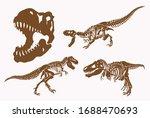 graphical set of dinosaur... | Shutterstock .eps vector #1688470693