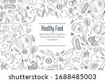 fruits and vegetables doodle... | Shutterstock .eps vector #1688485003