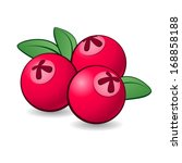 Raster version. Cartoon cranberry with green leaves on white background. - stock photo
