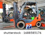 Parked Forklifts In Repairing...
