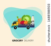 grocery delivery ad. truck... | Shutterstock .eps vector #1688588503