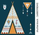 poster with wigwam  arrow ... | Shutterstock .eps vector #1688598043