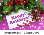 christmas card on purple... | Shutterstock . vector #168860498