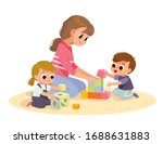 mother playing with kids at... | Shutterstock .eps vector #1688631883