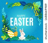 happy easter frame with rabbits ... | Shutterstock .eps vector #1688669989