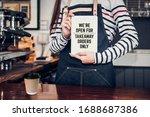 asian barista holding tabblet... | Shutterstock . vector #1688687386