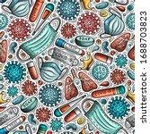 viruses hand drawn doodles... | Shutterstock .eps vector #1688703823