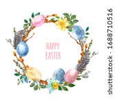 Watercolor Spring Easter Wreath ...