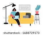 young woman is sitting with... | Shutterstock .eps vector #1688729173