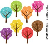colorful vector trees | Shutterstock .eps vector #168879563