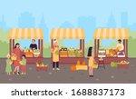 farmers organic market in... | Shutterstock .eps vector #1688837173