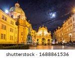 Prague At Night. Illuminated...