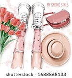 Hand Drawn Cute Flat Lay With...
