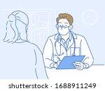 the doctor wears a mask  he... | Shutterstock .eps vector #1688911249