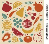retro style fruit and... | Shutterstock .eps vector #168891800