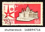 hungary   circa 1958  red color ... | Shutterstock . vector #168894716