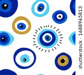 seamless pattern with evil eyes ... | Shutterstock .eps vector #1688965813