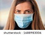 young woman wearing blue...   Shutterstock . vector #1688983006