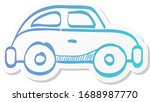 green car icon in sticker color ...