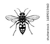 hand drawn wasp isolated on... | Shutterstock .eps vector #1689015460