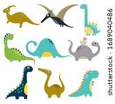 funny cartoon dinosaurs... | Shutterstock .eps vector #1689040486