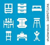filled furniture 9 vector icons ...